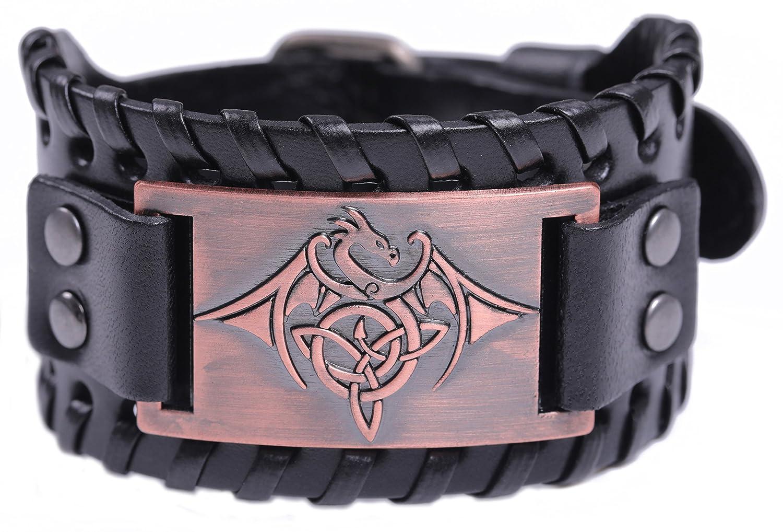 Lemegeton Viking Flying Dragon Trinity Triquetra Knot Leather Bracelet for Men, Gothic Punk Retro Style BiChuang