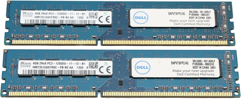 2 x 4GB (8GB Total) Hynix HMT351U6EFR8C-PB 4GB PC3-12800U Desktop Memory