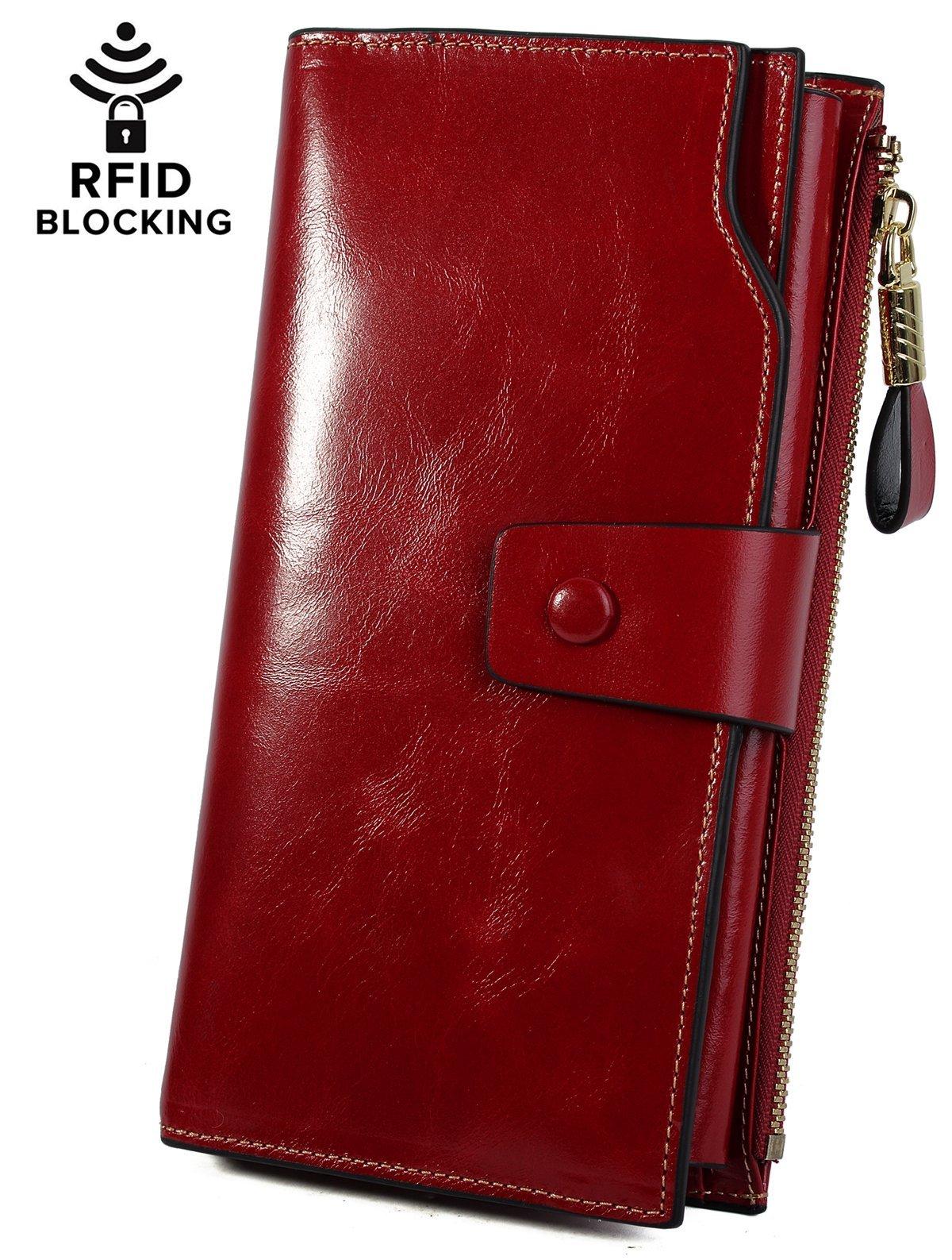 YALUXE Women's Wax Genuine Leather RFID Blocking Clutch Wallet Wallets for Women Red by YALUXE (Image #2)