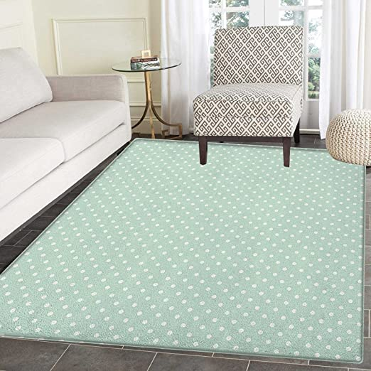 Green Area Rug Carpet Retro Style Baby Nursery Themed Pattern with Little  White Polka Dots Pastel Living Dining Room Bedroom Hallway Office Carpet ...