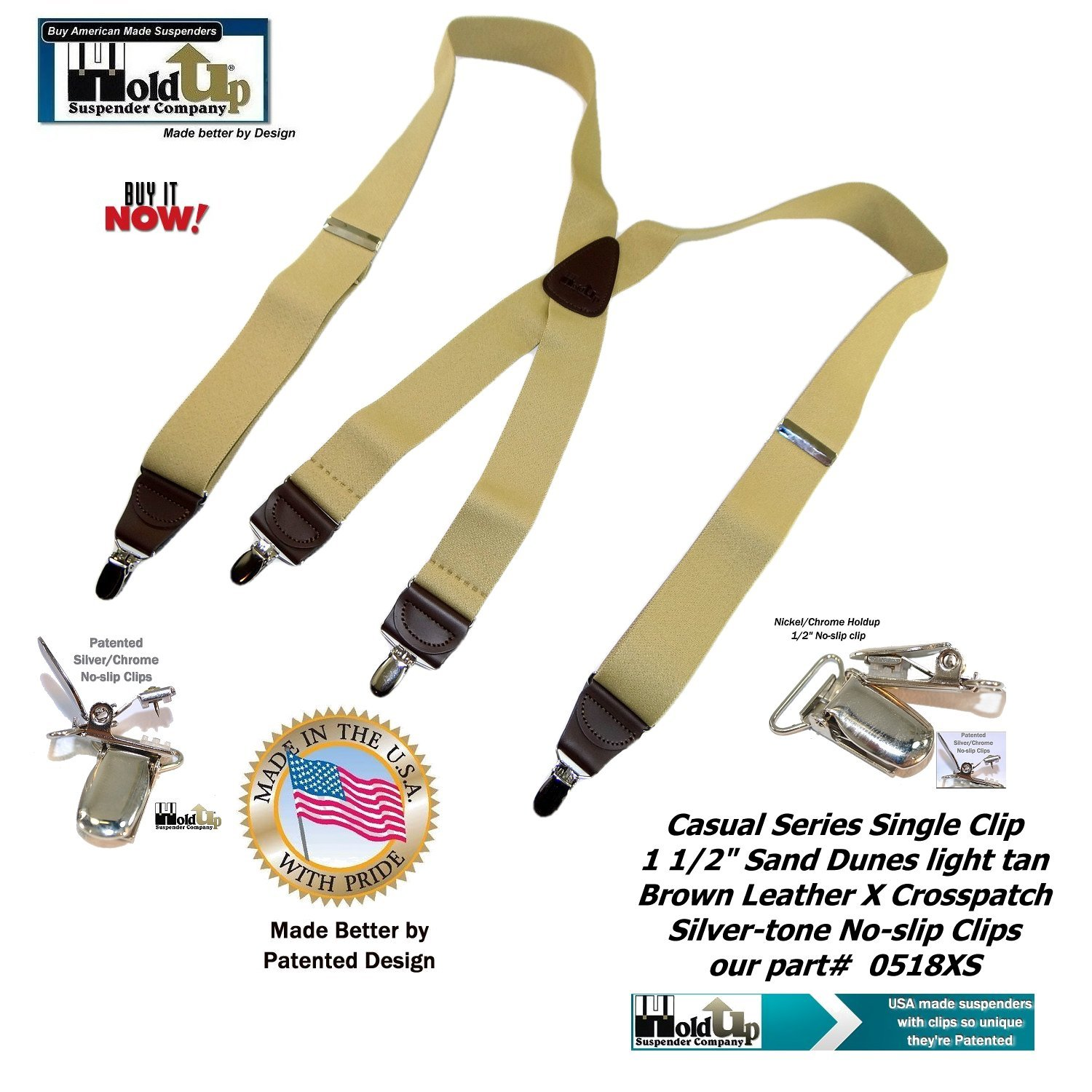 Holdup Suspender Company's Sand Dunes Tan Casual Series X-back Suspenders with Silver-tone No-slip Clips by Hold-Up Suspender Co. (Image #2)