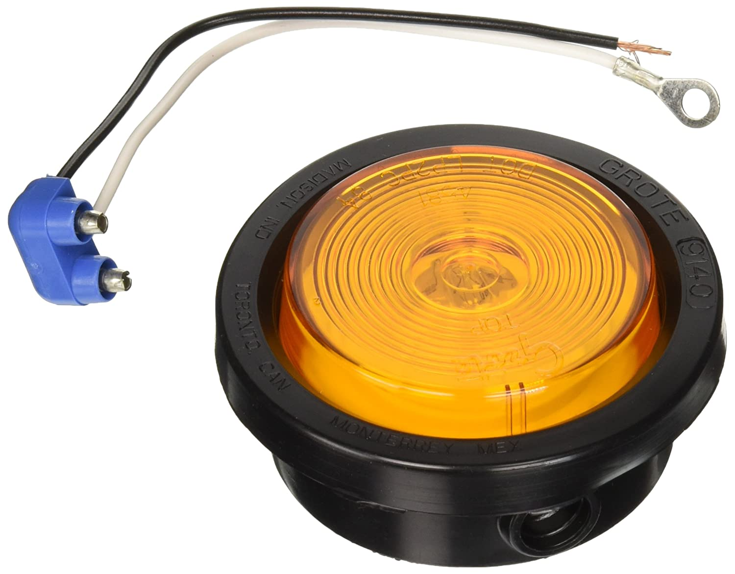 Grote 45043 Yellow 2 1//2 Round Clearance Marker Light Optic Lens, Kit 45813 + 91400 + 67050
