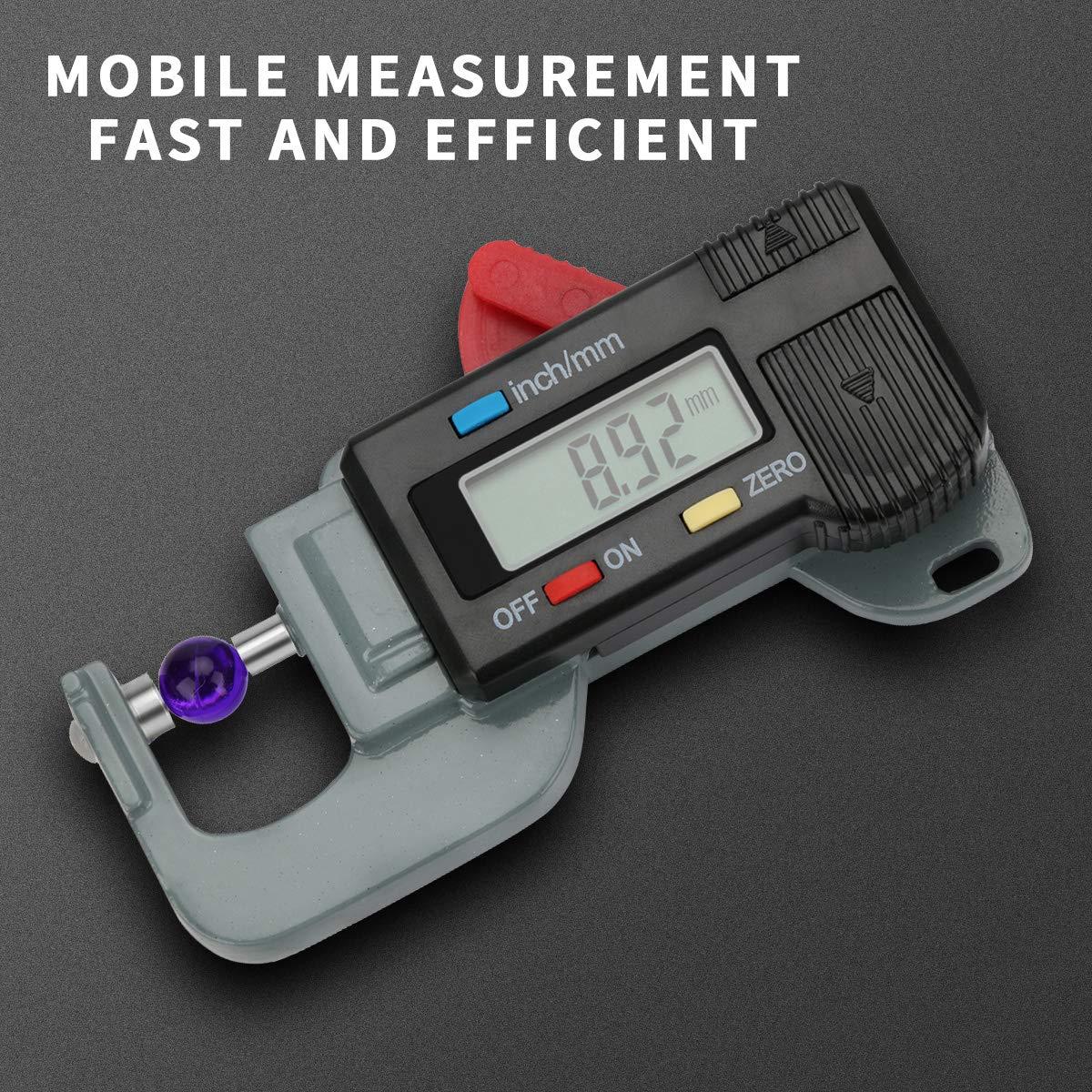 Jauge d/épaisseur de Zwini Outil de mesure de jauge d/épaisseur au microm/ètre d/épaisseur num/érique pour 0-12.7mm 0.5noir