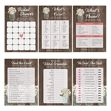 mason jar bridal shower games 6 design 30 sheets each wedding advice