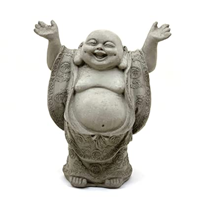 Joyful Buddha-Solid Durable Stone. Perfect Indoor Design & Sealed for Outdoor Use. Handcrafted in The USA (Antique): Home & Kitchen