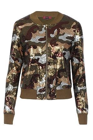 122cf6138 Ladies Camo Sequin Bomber Jacket US Size 6-12