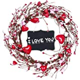 Shiny Flower Red Pip Berry Wreath Heart Shaped Artificial Decoration Rustic Twig Fake Garland Handmade Festival Gifts for Val