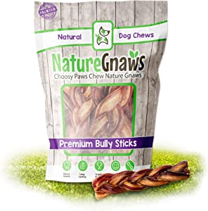 Nature Gnaws Braided Bully Sticks for Dogs - Premium Natural Beef Bones - Long Lasting Dog Chew Treats for Small and Medium Breeds - Rawhide Free - 6 Inch
