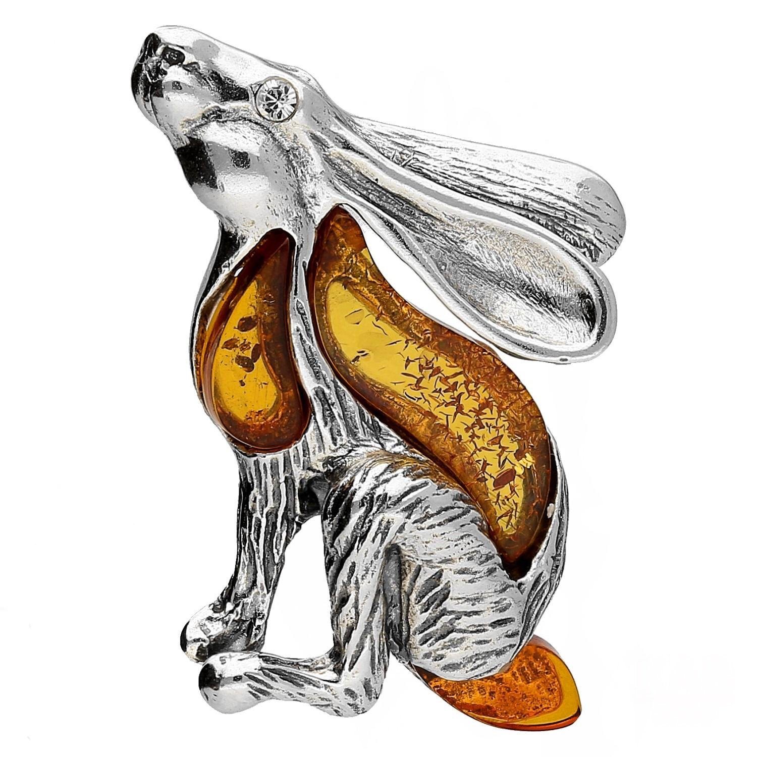 BALTIC AMBER GEMSTONE & STERLING SILVER 925 BROOCH / PIN rabbit. KAB-93