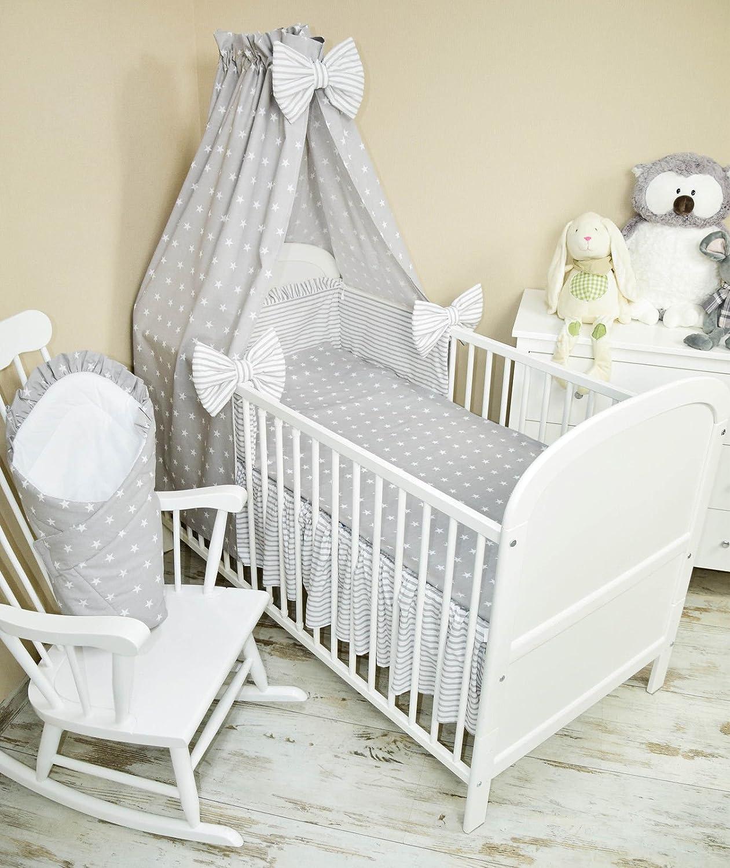 Amilian® Baby Bettwäsche 5tlg Bettset mit Nestchen Kinderbettwäsche Himmel 100x135cm NEU Vollstoffhimmel Sternchen Grau Glocal Point