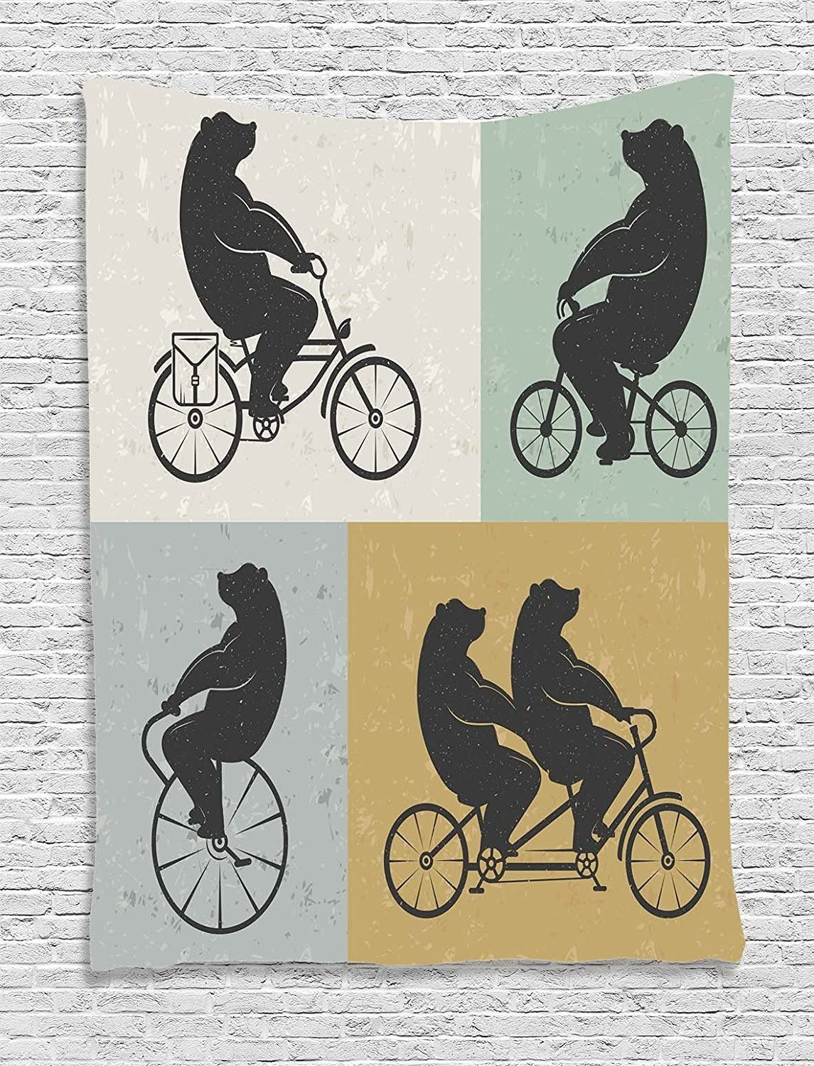 TAMMY CHAPPELL Vintage Decor Tapestry, Big Cute Bear on a Bike Bicycle Cycling Hipster Circus Life Outdoor Animal Enjoy, Wall Hanging for Bedroom Living Room Dorm, 60WX80L Inches, Multi