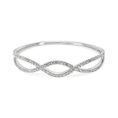 Amazon.com  Diamond Infinity Bangle in 18KT White Gold 2.37 ctw  Jewelry 6d42ab60d