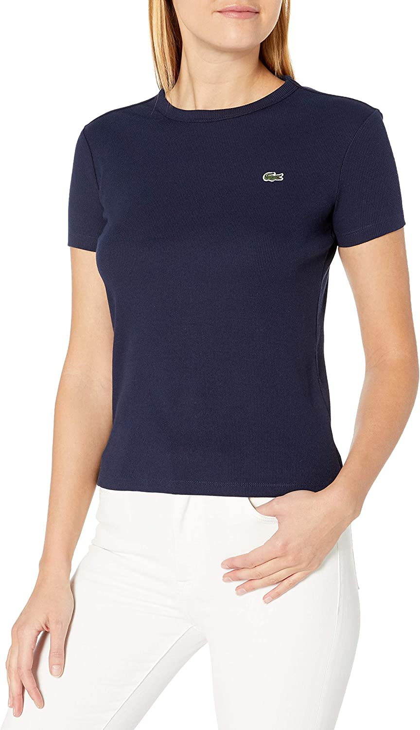 Lacoste Women's Short Sleeve Ribbed Crewneck T-Shirt