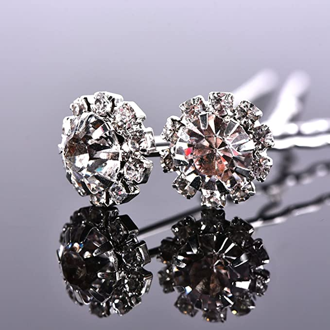Horquilla de Pelo de Cristal Clip de Pelo en Forma de U de Flor de Diamante  de Imitación Accesorios de Clip de Pelo de Novia Boda 2959c142b80b