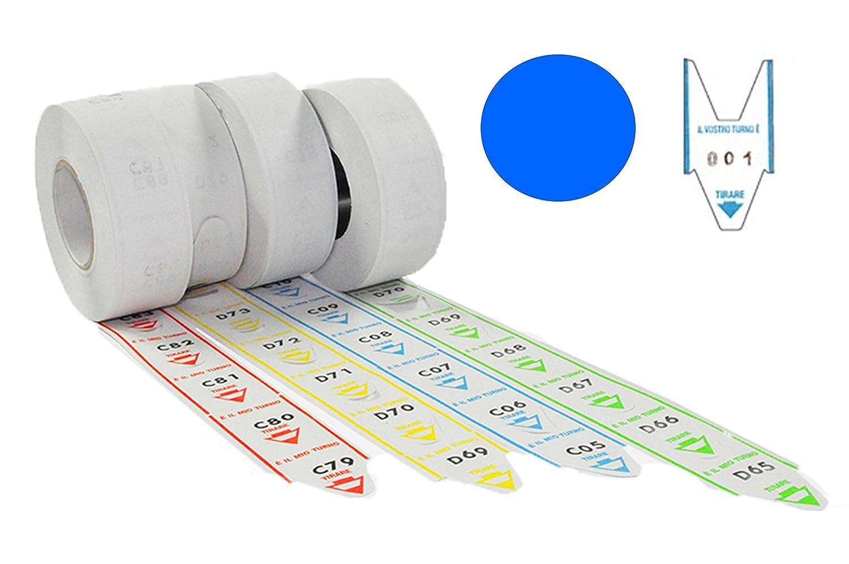 5 rollos de 2000 tickets cola de milano para dispensador. Rollos de turno alfanuméricos, color turquesa: Amazon.es: Oficina y papelería