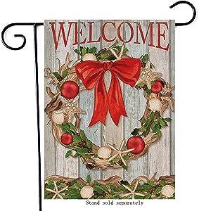 Hzppyz Welcome Christmas Home Decorative Coastal Garden Flag, Winter House Yard Starfish Seashell Wreath Decor Double Sided, White Xmas Holiday Farmhouse Outside Decorations Outdoor Small Flag 12 x 18