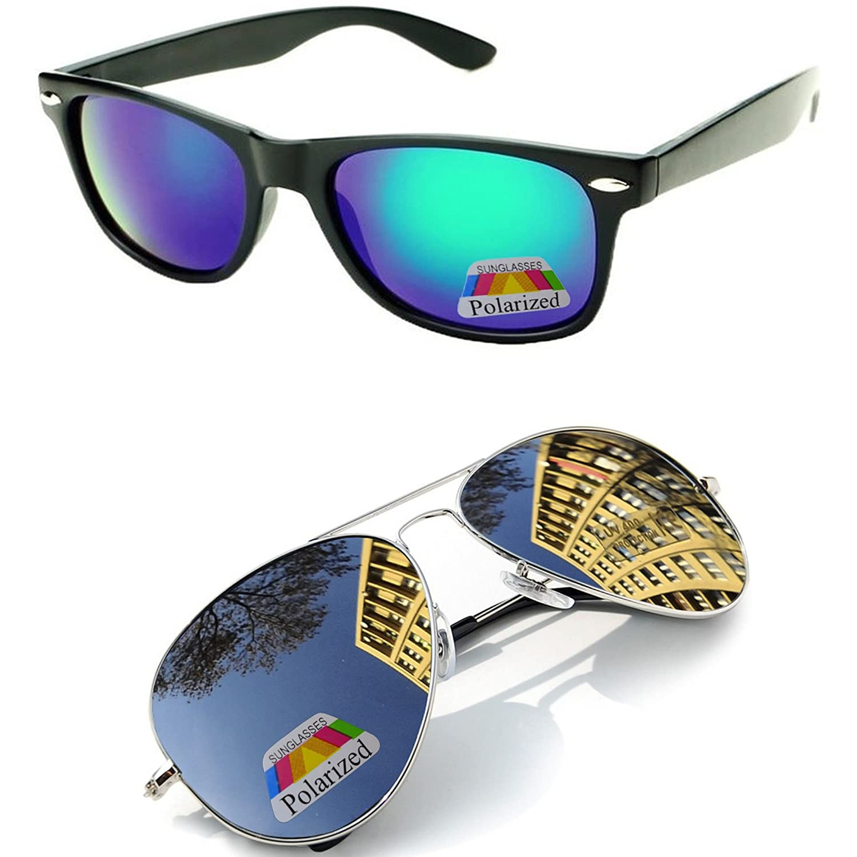 Aviator Lunettes de soleil miroir polarisée Sunglasses mirror UNISEX Homme Femme (Aviator Black polarized) MFAZ Morefaz Ltd UIq80