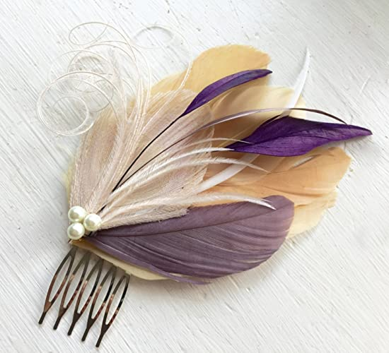 Amazon.com  Oh Lucy Handmade LANE Peacock Feather Fascinator with Pearl 1d3b36f242a
