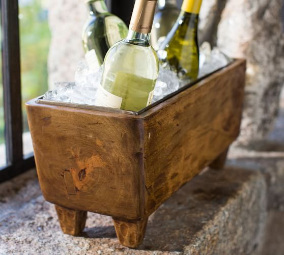 Blonde Wood Wine Trough | Pottery Barn