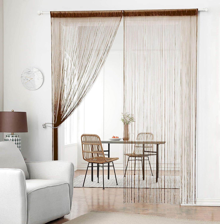 Taiyuhomes Knitting String Curtain Panels Dense Door Curtain Fringe Curtain Room Divider for Door Window Decor(39x79,Coffee)