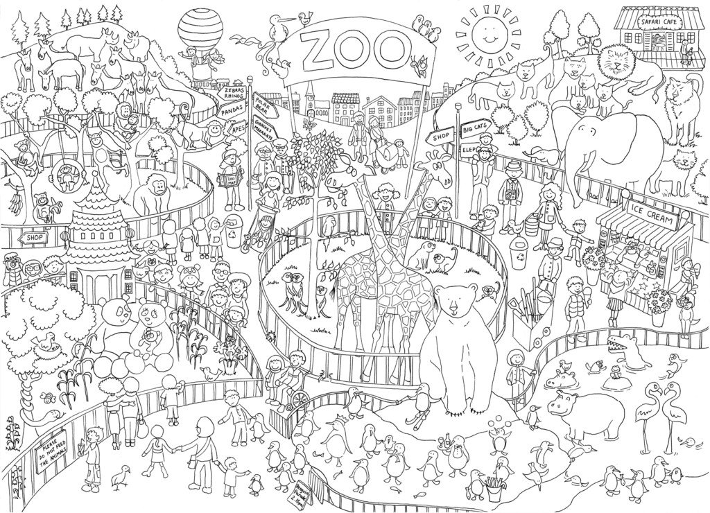 amazoncom zoo coloring poster really giant size 30 x 40 inches toys games - Zoo Coloring Pages
