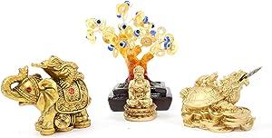 W Set of 4~Fengshui Gold Buddha Blue Evil Eye Money Tree Money Frog on Elephant Dragon Turtle Home Decor Gift
