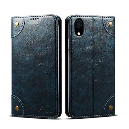 Amazon.com: Funda tipo cartera de piel retro para iPhone XS ...