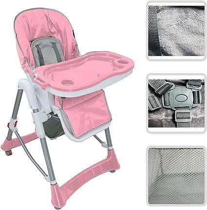 Todeco Chaise Haute pour Bébé, Chaise Pliante pour Bébé Taille déployée: 105 x 75 x 60 cm Matériau: PP Rose