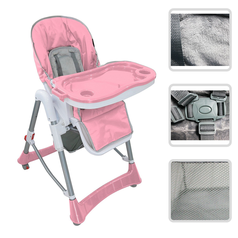 Todeco - Chaise Haute pour Bébé, Chaise Pliante pour Bébé - Taille déployée: 105 x 75 x 60 cm - Matériau: PP - Rose