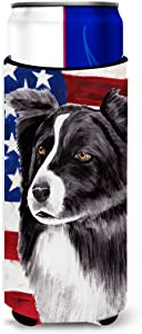 Caroline's Treasures SC9009MUK USA American Flag with Border Collie Ultra Beverage Insulators for slim cans, Slim Can, multicolor