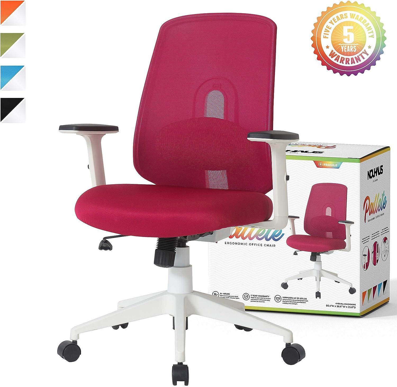 NOUHAUS Palette Ergonomic Office Chair Comfortable Swivel Computer Desk  Chair, Lumbar Adjust Rolling Chair. (Burgundy)