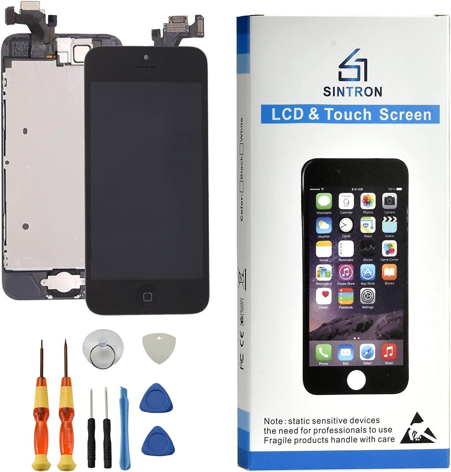 Sintron OEM LCD Screen Replacement - for iPhone 7 Plus Black Fully Assembled Including Original Parts Front Camera, Proximity Sensor, Earpiece, LCD Shield + Tools & Guide