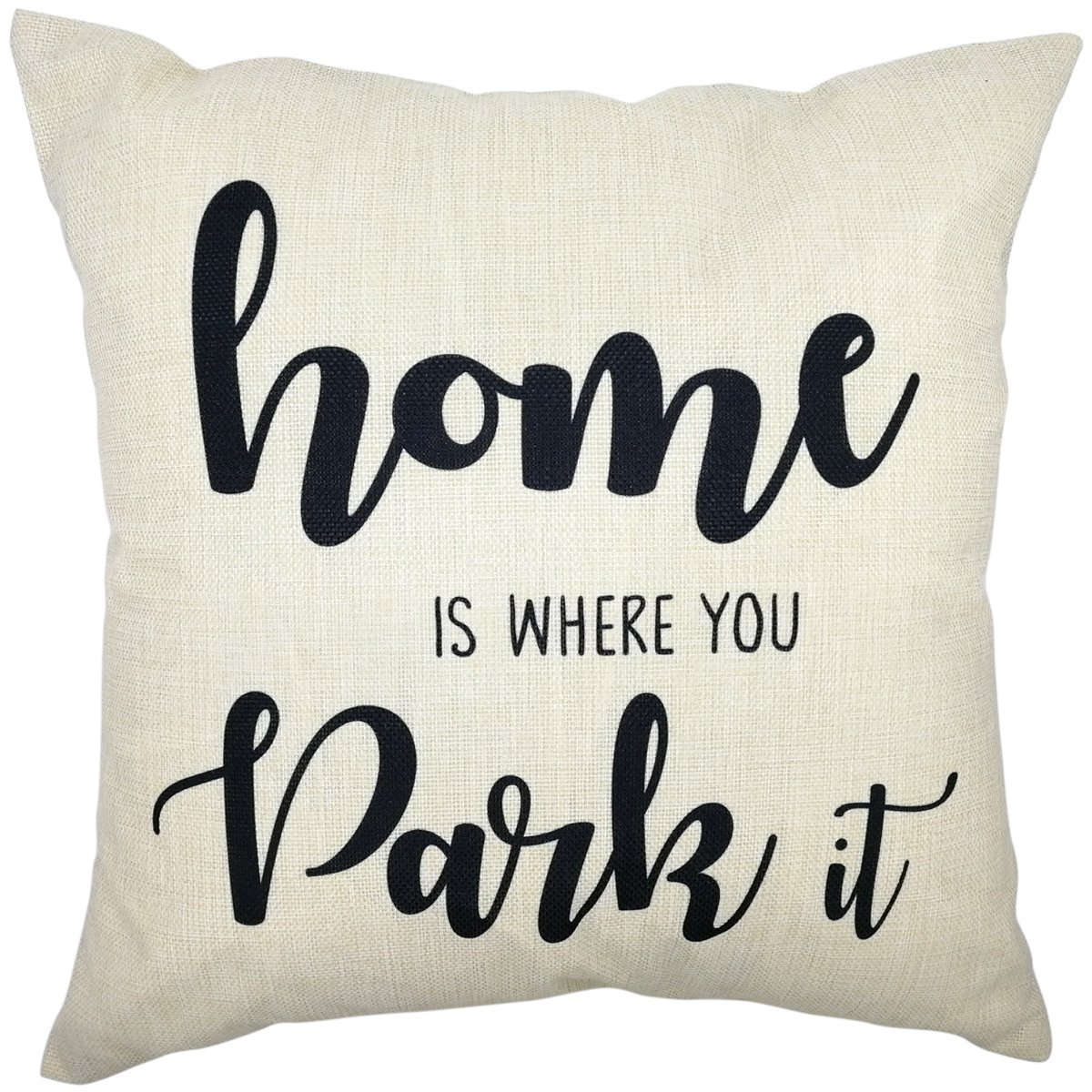 Arundeal Home Is Where You Park It 18 x 18 Inch Cotton Linen Square Throw Pillow Cases Cushion Cover