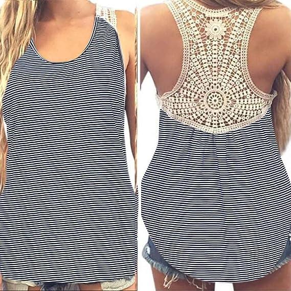 Mujeres cordón Camisetas sin mangas,Oscilación v-cuello Dama Sexy Sin mangas Blusa Tiras