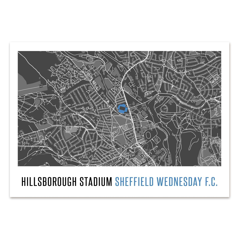 Present UNFRAMED Map Print gift Sheffield Wednesday Football A4 Print Poster Football Print Football Poster