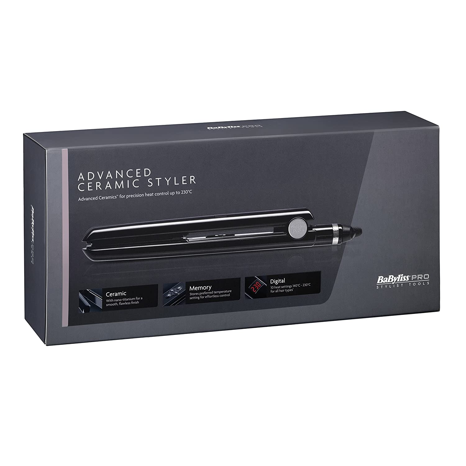 BaByliss Pro - Advanced Ceramic Styler Hair Straightener - Black