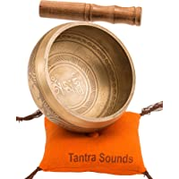 """Tibetan Singing Bowl Set By TANTRA SOUNDS - Om Mani Padme Hum - Chakra Balancing, Excellent Resonance Healing & Meditation Yoga Bowl with Mallet, Nepalese Cushion & Bag, Made in Nepal (4.5"""", Bronze)"""