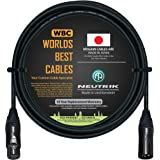 10 Foot - Balanced Microphone Cable CUSTOM MADE By WORLDS BEST CABLES - using Mogami 2549 (Black) wire and Neutrik NC3MXX-B &