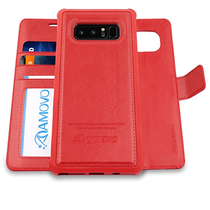 newest 08fb2 671cc AMOVO Case for Galaxy Note 8 [2 in 1], Samsung Galaxy Note 8 Wallet Case  [Detachable Wallet Folio] [Premium Vegan Leather] Samsung Note 8 Flip Cover  ...