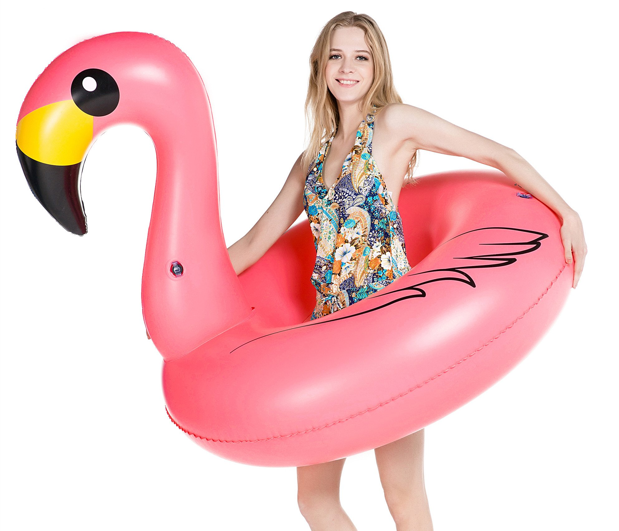 Jasonwell Giant Inflatable Flamingo Pool Float Party Tube Rapid Valves Summer Beach Swimming Pool Lounge Raft Decorations Toys Adults & Kids