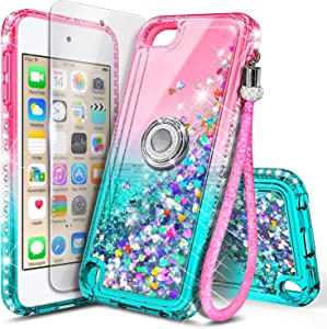 NGB iPod Touch 7 Case, iPod Touch 6/5 Case with HD Screen Protector and Ring Holder for Girls Women Kids, Glitter Liquid Soft TPU Clear Cute Case for Apple iPod Touch 7th/6th/5th Generation -Pink/Aqua