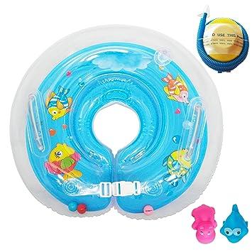 Raintwo Bebé Flotador de Cuello Niños Flotadores Dispositivos para Bebés de 6-36 meses con Juguetes chillones y Bomba de Pie - Azul: Amazon.es: Juguetes y ...