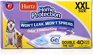 Hartz Home Protection Dog Pads for All Dog Sizes - Super Absorbent and Won't Leak: Odor Eliminating Lavender Scent, Unscented, and Quilted Plus