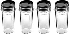 Ninja Single Serve 16-Ounce Cups Set by Preferred Parts | Comparable with Nutri Ninja BL770 BL780 BL660 Professional Blender (Pack of 4)