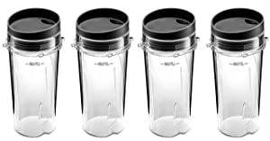 Ninja Single Serve 16-Ounce Blender Cups Set for BL770 BL780 BL660 Professional Blender (Pack of 4)