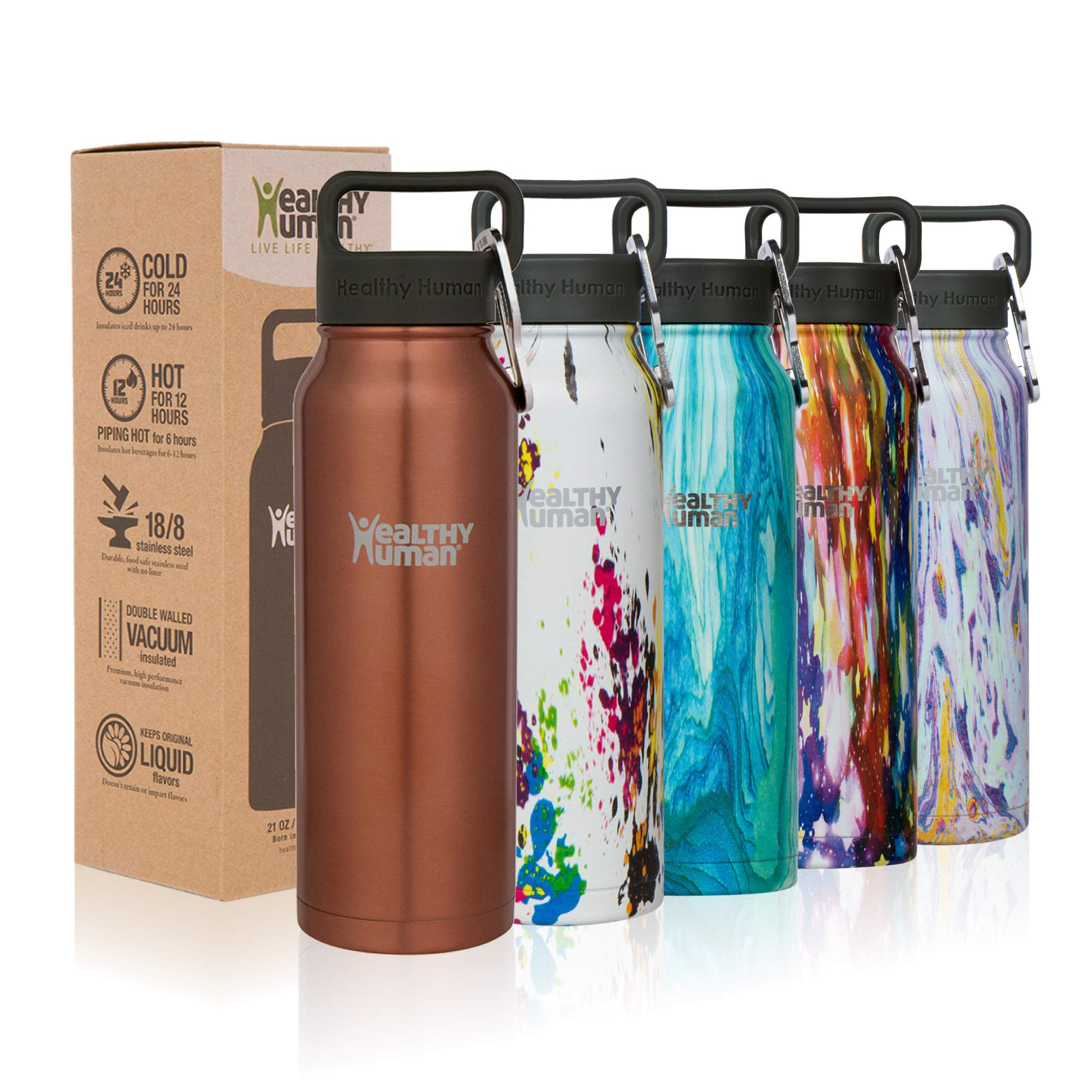 Healthy Human Designer Collection Insulated Stainless Steel Water Bottle Stein - Cold 12 Hours/Hot 6 Hours - Double Walled Vacuum Flask - 16 oz Sunset Gold