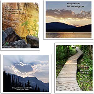 Studio Papilia Inspirational Wall Art | Set of 4-8.5x11 Unframed Prints | Sayings and Quotes Posters | Pictures for Bedroom, Office, Home | Encouragement Gift | Mountain Photo Décor