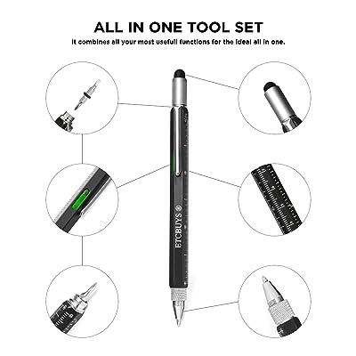 6 in 1 Screen Stylus Ballpoint Pen with Level Ruler Screwdriver Multi-tool b b