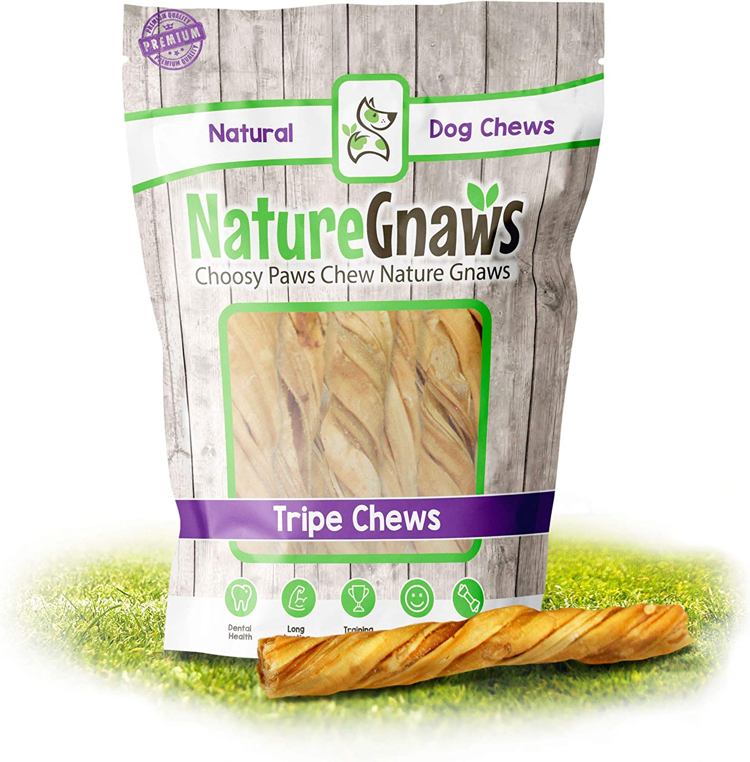 Nature Gnaws Tripe Twists for Dogs - Premium Natural Beef Sticks - Simple Single Ingredient Crunchy Dog Chew Treats - Rawhide Free - 4-5 Inch (10 Count)