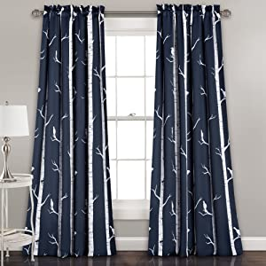 "Lush Decor Bird On The Tree Curtains Room Darkening Window Panel Set for Living, Dining, Bedroom (Pair), 84"" x 52"", Navy"